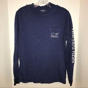 Vineyard Vines long sleeve, blue t-shirt with hood